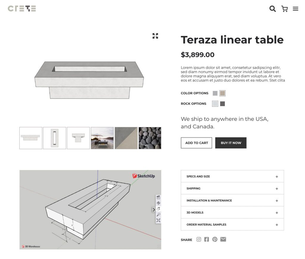 E-commerce design for concrete products